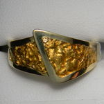 Gold nugget yellow gold fold over ring